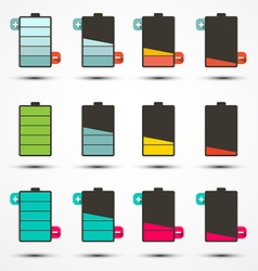 Battery Life Icons Set Set vector image