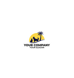 bay beach veterinary logo design vector image