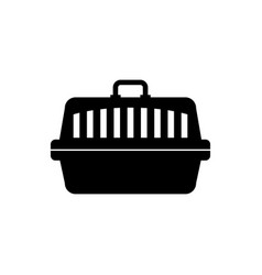 Black pet carry case icon isolated carrier for vector