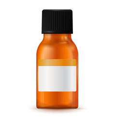 brown medical bottle with blank label vector image