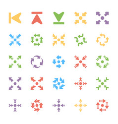 Bundle of arrows colored icons vector