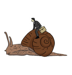 businessman riding snail sketch vector image