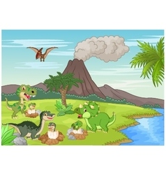 Cartoon dinosaur nesting ground vector