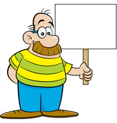 Cartoon man with a big moustache holding a sign vector