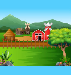 cartoon of farm landscape with the beautiful natur vector image
