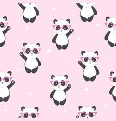 Cartoon seamless panda pattern vector