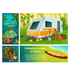cartoon summer camping colorful composition vector image