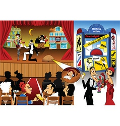 Cartoon theatre design vector