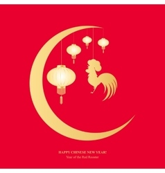 Chinese lanterns and cock hanging from the moon vector