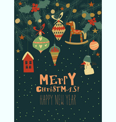 christmas card with fir twigs and vintage toys vector image
