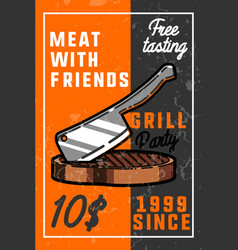 Color vintage grill party banner vector