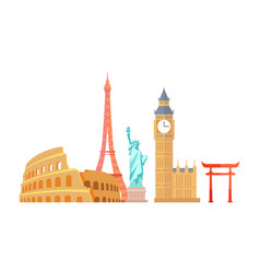 Colosseum and eiffel tower vector
