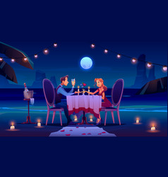 couple at night beach have romantic date dinner vector image