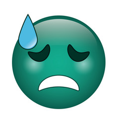 Crying face emoticon funny icon vector