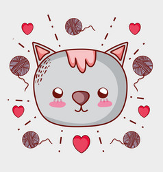 Cute cat doodle cartoon vector