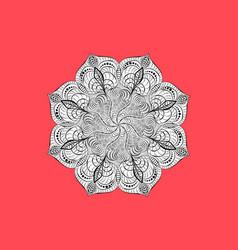 Decorative paper mandala spiral black pattern on vector
