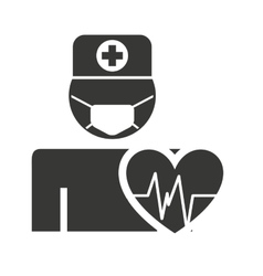 Doctor avatar silhouette with medical icon vector