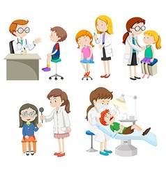 Doctors giving treatment to patients vector image