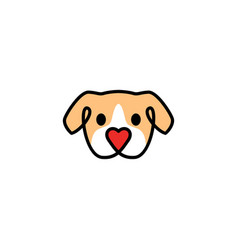 Dog with love shape nose logo icon vector