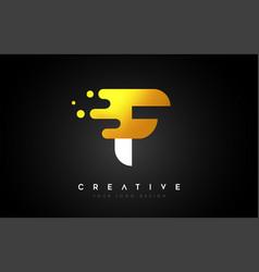 F melted golden letter logo design creative vector