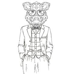Fashion of wild boar in tweed suit vector image