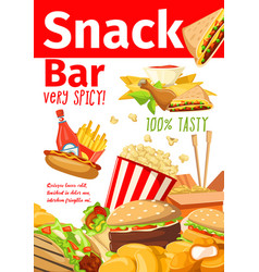 fast food sandwiches and dessert snacks bar poster vector image