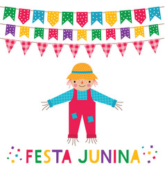 festa junina brazil june party card vector image