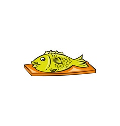 Fish On Chopping Board Cartoon vector