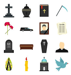 Funeral set flat icons vector