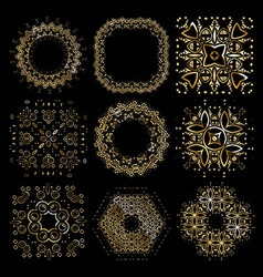 Gold mandala set vector