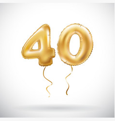 Golden number 40 forty metallic balloon party vector