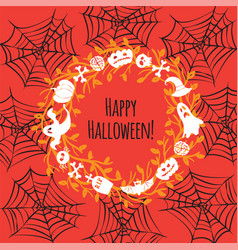 greeting card for halloween wreath vector image