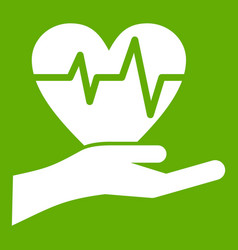 hand holding heart with ecg line icon green vector image