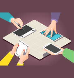 hands isometric background vector image