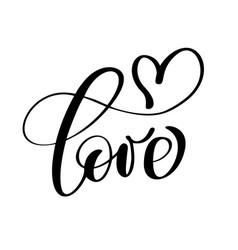 handwritten inscription love and heart happy vector image