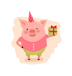 happy birthday greeting card happy pig with vector image