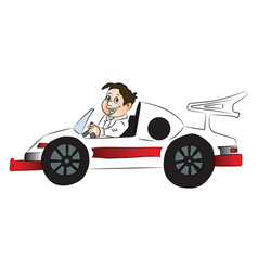 happy boy driving car vector image