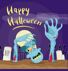 happy halloween poster with zombie in graveyard vector image