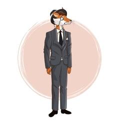 Hipster fox monocle hat gray suit tie elegant vector