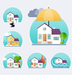 House insurance business service icons template vector image
