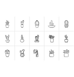 House potted plants and flowers sketch icon set vector