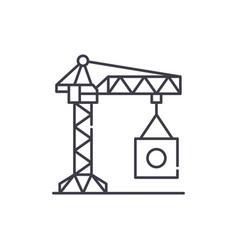 industrial crane line icon concept industrial vector image