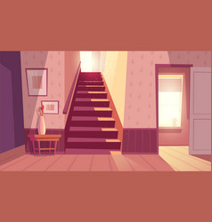 Interior with staircase stairs in house vector