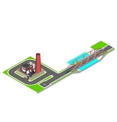 Isometric bridge with a road cars and factory vector image