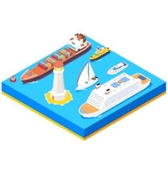 Isometric sea ships set vector image