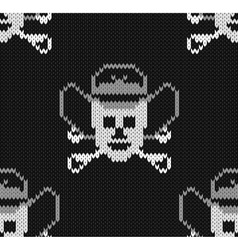 Knitted background with skulls in a cowboys hat vector