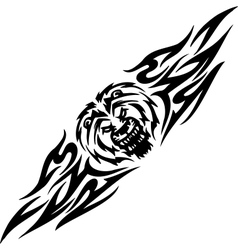 Lion and symmetric tribals vector image