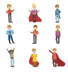 Little Boys Dressed As Fairy Tale Princes vector