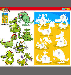 Matching shapes game with cartoon dragon vector