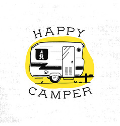 Mobile recreation happy camper trailer in sketch vector